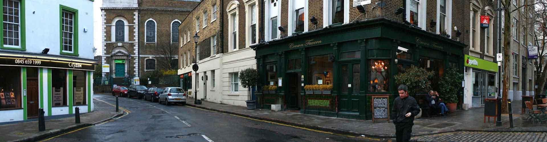 Londres - Hoteles baratos en el distrito Clerkenwell. Mapas de Londres, Fotos y comentarios de cada Hotel barato en Londres.