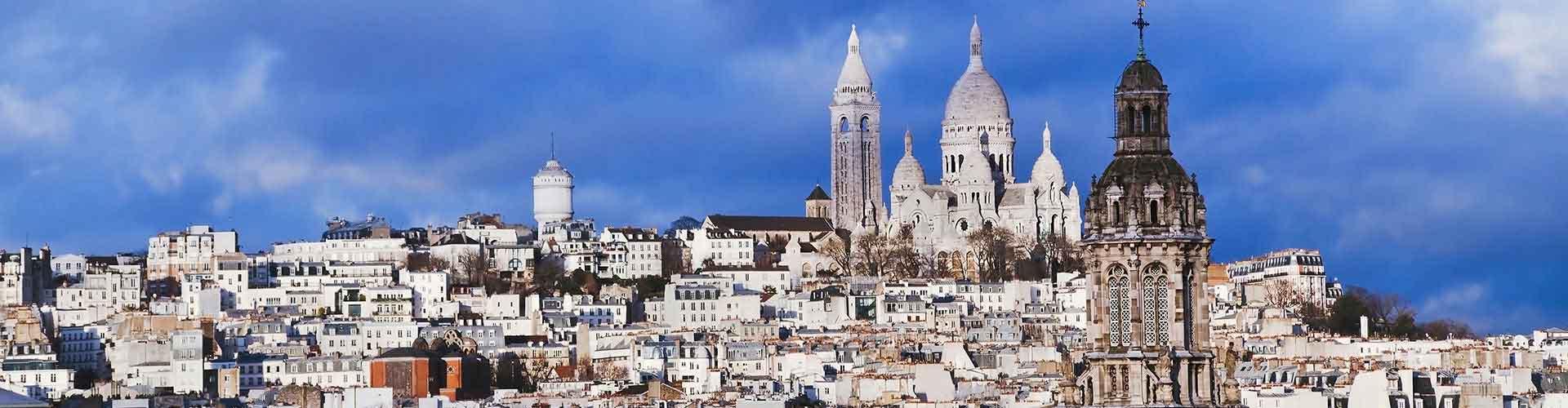 París - Hostales en el distrito Montmartre. Mapas de París, Fotos y comentarios de cada Hostal en París.
