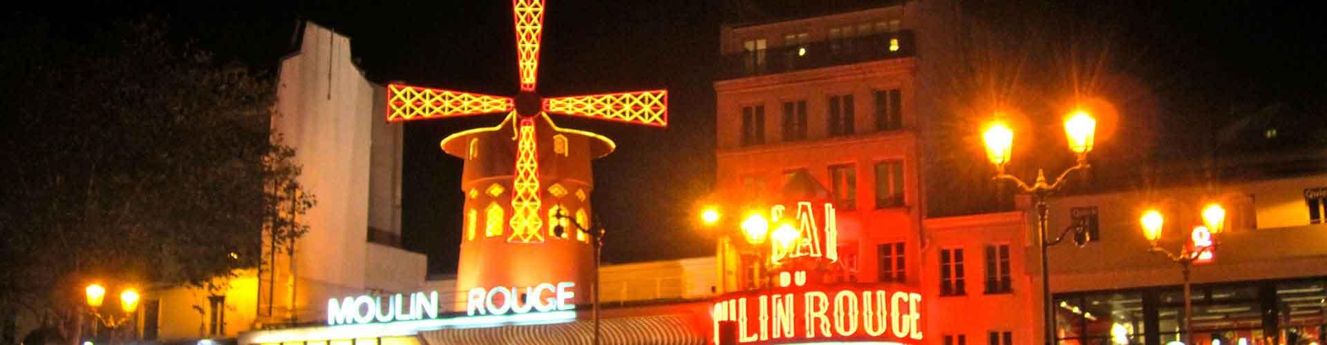 París - Hoteles baratos cerca a Moulin Rouge. Mapas de París, Fotos y comentarios de cada Hotel en París.