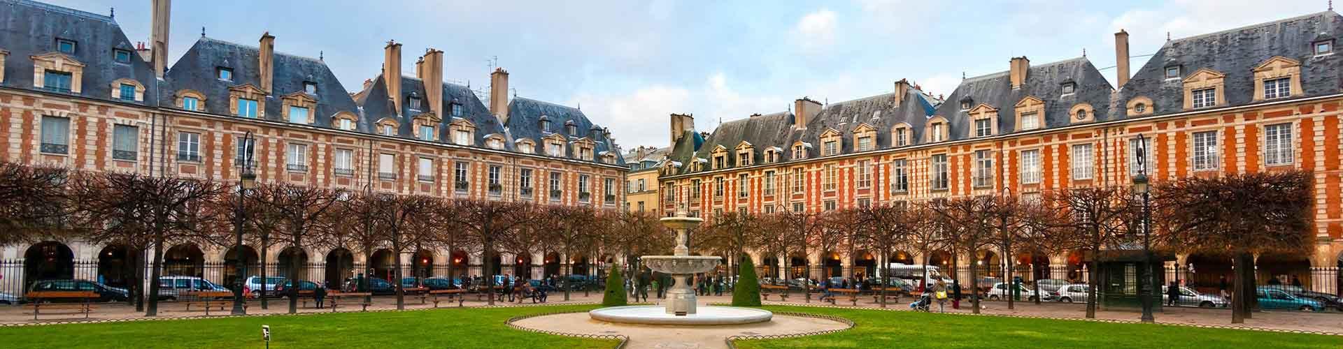 París - Hostales cerca a Place des Vosges. Mapas de París, Fotos y comentarios de cada Hostal en París.