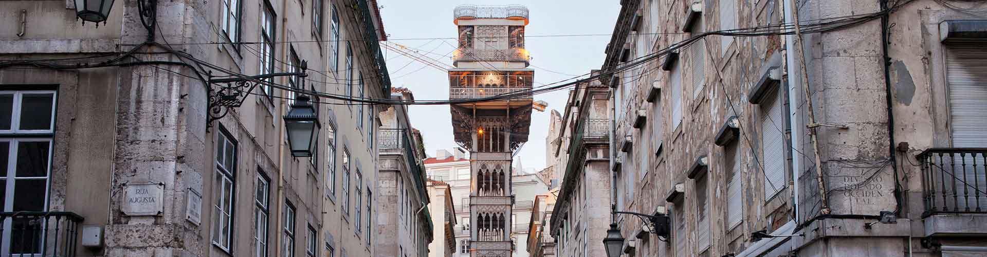 Lisboa - Habitaciones cerca a Ascensor de Santa Justa. Mapas de Lisboa, Fotos y comentarios de cada Habitación en Lisboa.