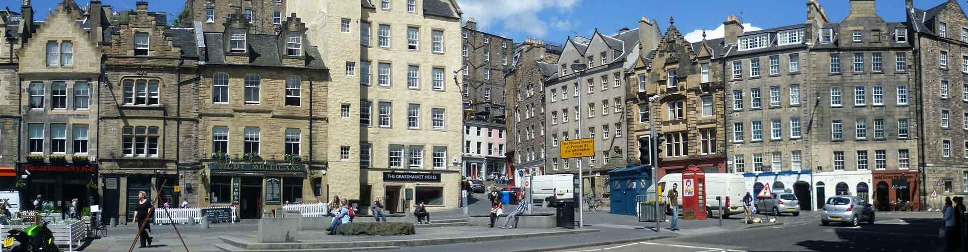 Edimburgo - Hostales en el distrito The Grassmarket. Mapas de Edimburgo, Fotos y comentarios de cada Hostal en Edimburgo.